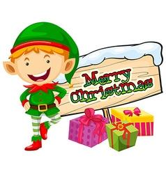 Christmas theme with elf and christmas sign vector image vector image