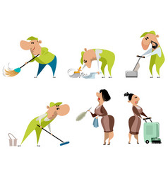 cleaning workers on white vector image