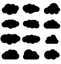 Cloud black icon set safe secure and scalable vector