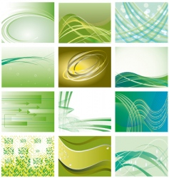 collection of green geometric backgrounds vector image