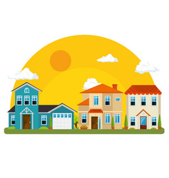 Colorful houses in neighborhood vector