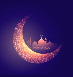 Creative moon and glowing mosque design vector