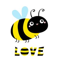 Cute flying bee icon cartoon kawaii baby vector