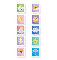 Cute stamps moon sun clouds rainbow stars rain vector