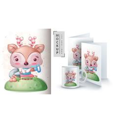 Deer with showel poster and merchandising vector