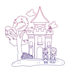 Degraded outline horror castle with children vector
