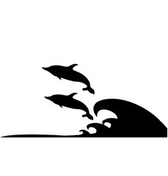 dolphins pair playing and jumping on ocean waves vector image