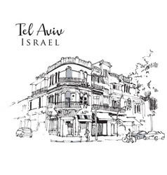 Drawing sketch tel aviv israel vector