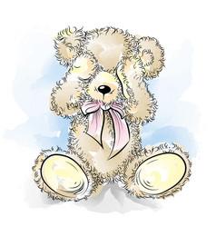 drawing unhappy teddy bear closing eyes vector image