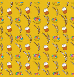 Easter seamless pattern with traditional eggs vector