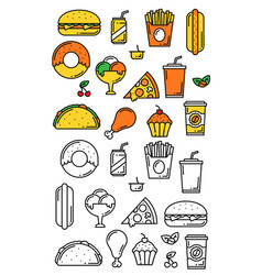 Fast food meals thin line menu icons vector