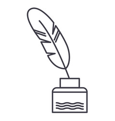 feather with writing inkliterature line vector image