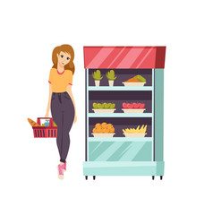 Food shopping woman with basket and meal vector