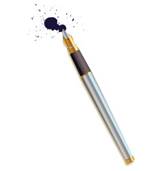 fountain pen and a blot top view vector image