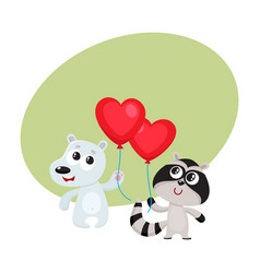 funny bear and raccoon holding red heart shaped vector image