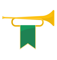 golden bugle with green ribbon vector image