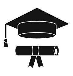 Graduated hat diploma icon simple style vector