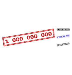 grunge 1 000 000 000 scratched rectangle stamp vector image