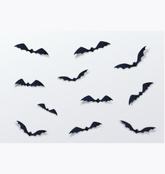 halloween bat decor background paper cut vector image