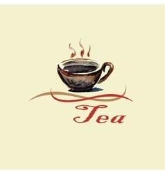 Hand drawn watercolor tea cup vector image