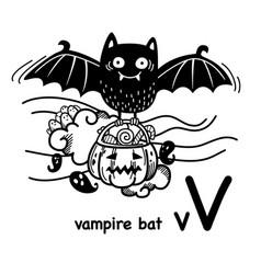 Hand drawnalphabet letter v-vampire bat vector