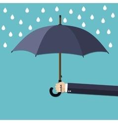 Hand of man holding umbrella under rain vector image