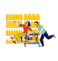 Happy couple characters fool in supermarket riding vector