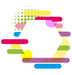 Hexagon frame with colorful bars in background vector