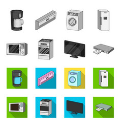 home appliances and equipment monochromeflat vector image
