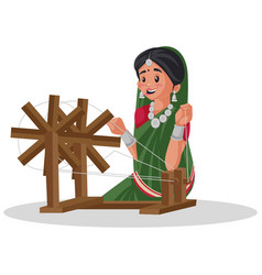 Indian gujarati woman cartoon vector