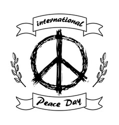 international peace day logo with hippie sign icon vector image