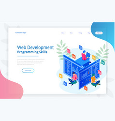isometric programmer coding new project web vector image