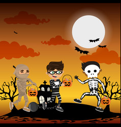 Kids and halloween vector