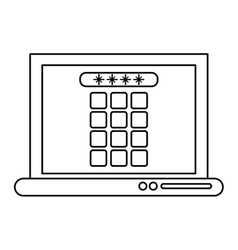 Laptop security system technology outline vector