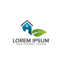 leaf house logo real estate architectural vector image