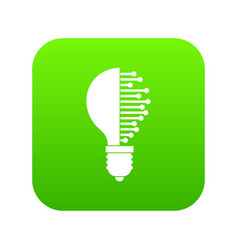 Lightbulb with microcircuit icon digital green vector