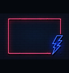 neon lightning frame electricity power flash logo vector image