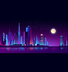 Neon megapolis on river at night vector