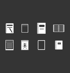 notebook icon set grey vector image