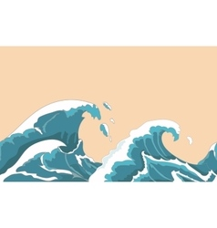 Ocean big wave seamless in Japanese style Water vector