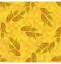 Orange ripe corn cobs seamless pattern vector