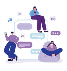 people using smartphone speech bubble talk and vector image