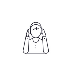 person wearing headphones line icon sign vector image