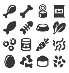 Pet food icons set on white background vector