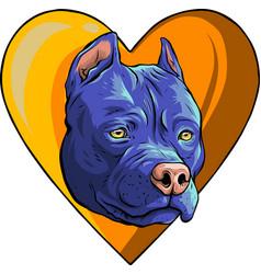 Pitbull head dog in heart vector