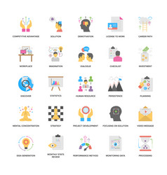 Project management flat icons collection vector
