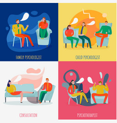 psychotherapist and psychologist concept icons set vector image
