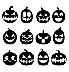 Pumpkin icons set halloween scary faces de vector