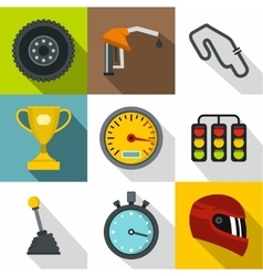 Race cars icons set flat style vector image