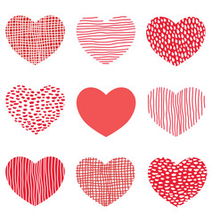 red hearts pattern hand drawn sketch heart vector image